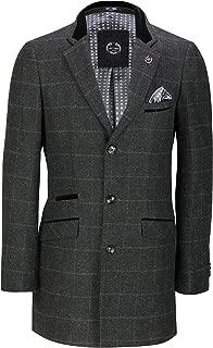 Mens Winter 3/4 Long Overcoat Jacket Wool Feel Retro Tweed Check Herringbone Coat