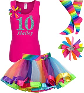 c26defadd 10th Birthday Shirt Rainbow Tutu Girls Party Outfit 4PC Gift Set  Personalized Name Age 10