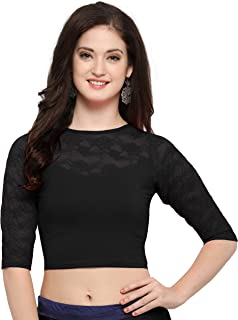 Janasya Indian Readymade Cotton Lycra Saree Blouse for Women (BL021-71BLACK)