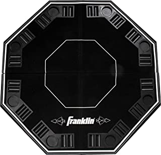 Franklin Sports Folding 10 Person Poker Table – Portable 8 Person Card Game Table Top – Casino Style Easy Card Slide Felt Layout with Cup Holders