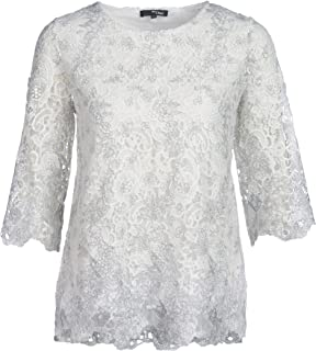 Damen Spitze Bluse Quaste Oberteile T-Shirt Langarm Tops  Schulterfrei Hemd Shit