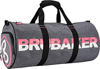 Unisex Duffel Sports Gym Bag 27 L - Water Repellent - Shoe Compartment + Wet Pocket + Shoulder Strap - 21 x 10 x 10 Inches - 54 cm x 25 cm Ø - Dark Gray Melange/Shocking Pink