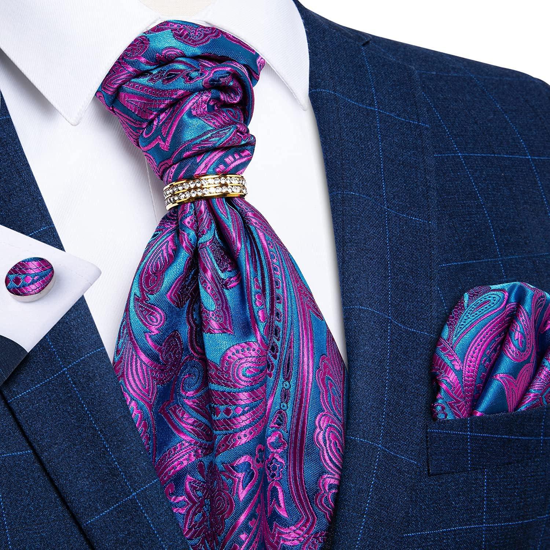 DiBanGu Mens Cravat Tie Set Floral Paisley Ascot with Pocket Square Cufflinks Ring Wedding Party
