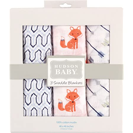 Hudson Baby Unisex Baby Cotton Muslin Swaddle Blankets, Foxes 3-Pack, One Size