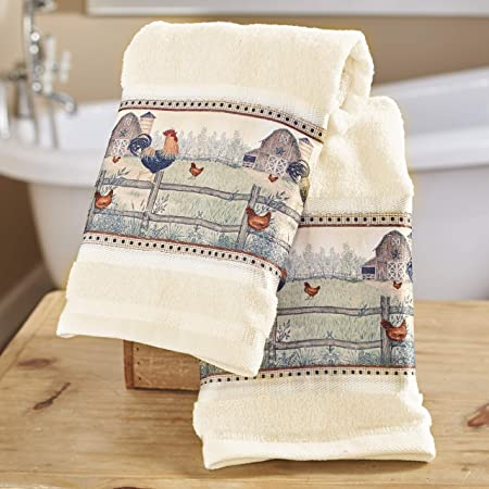 Set of 2 Rustic Wipes The Lakeside Collection Heart and Star Country Charm Hand Towels
