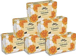 Mirah Belle - Organic Coconut Milk, Calendula Healing Soap Bar (Pack of 6-125 gm) - Infection Prone Skin, Anti-Acne. SLS, ...