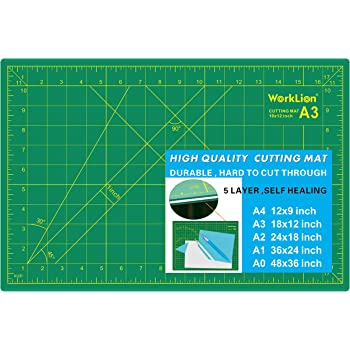 "WORKLION 12"" x 18"" Art Self Healing PVC Cutting Mat, Double Sided, Gridded Rotary Cutting Board for Craft, Fabric, Quilting, Sewing, Scrapbooking Project"