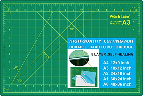 "WORKLION 12"" x 18"" Art Self Healing PVC Cutting Mat, Double Sided, Gridded Rotary Cutting Board for Craft, Fabric, Qu..."