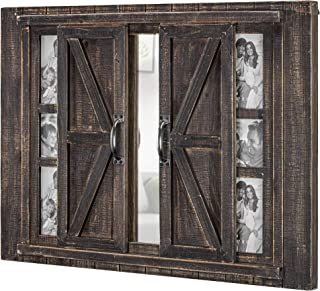 American Art Décor Rustic Wood Sliding Barn Door Photo Picture Frame and Mirror