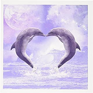 3dRose Two Kissing Dolphins Forming A Heart in A Purple Ocean Greeting Cards, 6 x 6 Inches, Set of 6 (gc_172927_1)