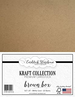 Brown Kraft Cardstock - 8.5 X 11 inch - Premium 100 LB. Cover - 25 Sheets from Cardstock Warehouse