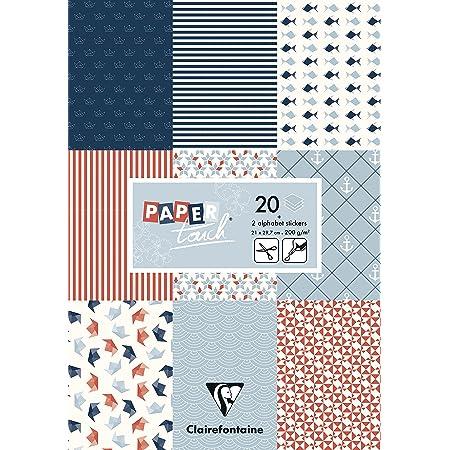 Clairefontaine 95242C Bloc de 20 Feuilles à Motifs en Papier Cartonné 200g + Stickers Alphabet + Étiquettes à découper - Format A4 (21x29,7cm) – Papier Scrapbooking Loisirs Créatifs - Marine