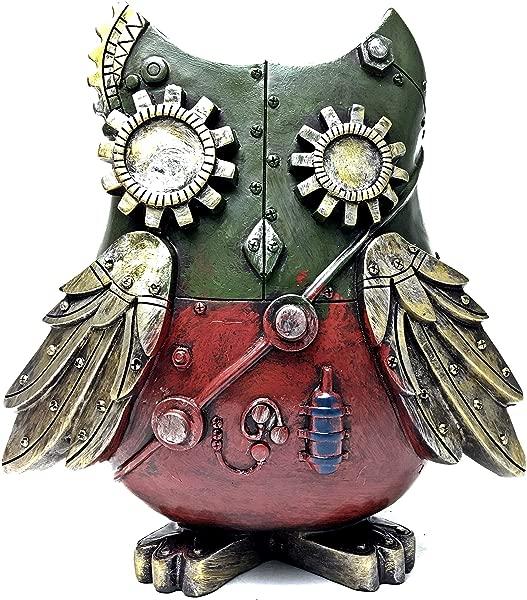 Bellaa 20317 Owl Status Steampunk Piggy Bank Money Box 9 Inch