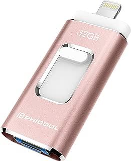 PHICOOL フラッシュドライブ USBメモリー 32GB iPhone Android PC 3in1  専用アプリ(OTG) Type-C変換アダプター付属 アルミ合金製