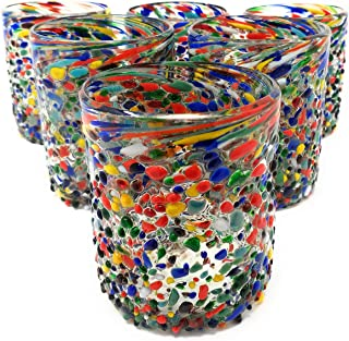 Hand Blown Mexican Drinking Glasses – Set of 6 Confetti Rock Tumbler Glasses (10 oz each)