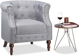Relaxdays Retro Sessel, Chesterfield-Design, Stoffbezug, Nietenbesatz, bequemes Sitzpolster, HxBxT: 76x71x67cm, grau