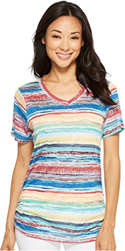 FDJ French Dressing Jeans Sunrise Stripe V-Neck Top