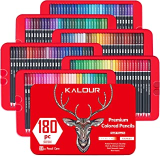KALOUR 180 Premium Colored Pencil Set for Adult coloring - Artists Soft Core Drawing Pencils- Ideal for Sketching Shading Blending Crafting - Gift Tin Box for Adults kids Beginners