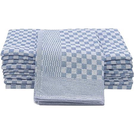 ZOLLNER Set de 10 torchons en Coton, 46x90 cm, Bleu-Blanc à Carreaux