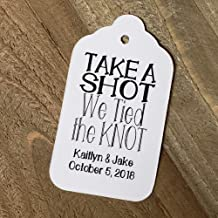 Take a Shot we Tied the Knot Wedding Personalized CardStock Keepsake Souvenir Favor Tag sets of 25 Tags (SMALL 2