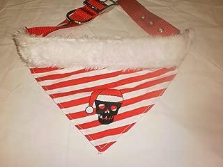 Pets Rock Holiday Stripe Skull Bandana Nylon Collar (Size Large 1