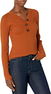 Lark & Ro suéter de Ajuste Delgado Henley de Manga Larga de Mezcla de Viscosa Premium Suéter para Mujer