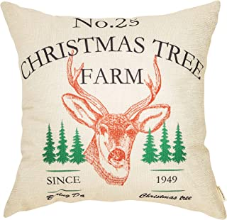 Fahrendom Rustic Farmhouse Style No.25 Christmas Tree Farm Red Deer Elk Winter Holiday Sign Cotton Linen Home Decorative Throw Pillow Case Cushion Cover with Words for Sofa Couch 18 x 18 in