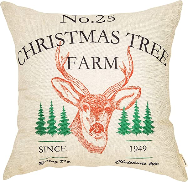 Fahrendom Rustic Farmhouse Style No 25 Christmas Tree Farm Red Deer Elk Winter Holiday Sign Cotton Linen Home Decorative Throw Pillow Case Cushion Cover With Words For Sofa Couch 18 X 18 In
