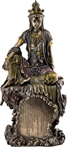 Top Collection Water and Moon Quan-Yin Bodhisattva Statue - Kwan Yin The Goddess of Mercy, Compassion, and Love Sculpture in Premium Cold Cast Bronze - 16-Inch Collectible Buddhist Figurine