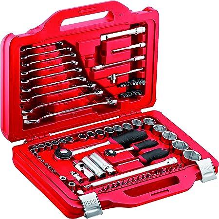 USAG 601 1/4-1/2 J82 U06010010 Assortimento in Cassetta Modulare con Bussole Esagonali e Chiavi Combinate (82 pezzi), Rosso