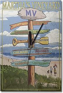 Lantern Press Martha's Vineyard, Massachusetts - Destinations Sign (10x15 Wood Wall Clock, Decor Ready to Hang)