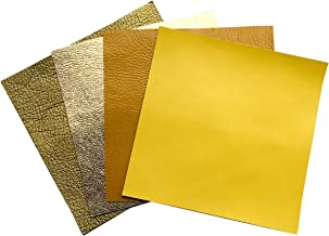 Genuine Leather Scraps for Earrings- 4 Yellow Sheets of Leather for Crafts, Each 5x5 Inches Large