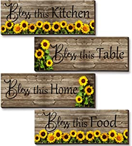 4 Pieces Bless This Kitchen Table Home Food Sunflowers Wall Decor Wood Wall Art Rustic Wood Sign Vintage Floral Flower Decor for Bedroom Living room Kitchen Bar Ornaments