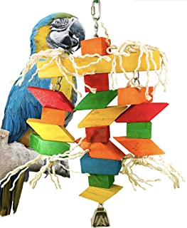 Bonka Bird Toys 3120 Zig Zag Bridge Bird Toy Parrot Wood chew Macaw African Grey Foraging Cockatoo Chewing Treat Heavy Duty Big Supplies Rope Bell Swing Perch