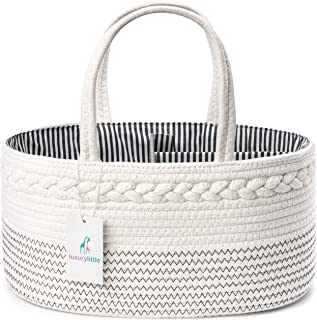 Luxury Little Baby Diaper Caddy Organizer - Rope Nursery Storage Bin for Boys and Girls - Large Tote Bag & Car Organizer w...