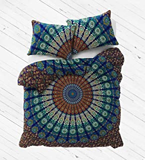The Boho Street - Exclusive Range of Reversible Queen Size Duvet Cover Set With Pillow Covers, Indian Duvet Quilt Cover Coverlet Bohemian Doona Cover Handmade 84