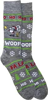 Peanuts Characters Snoopy and Woodstock Christmas Holiday Santa Hat Men's Novelty Crew Sock