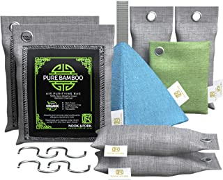 Nook & Fork Pure Bamboo Charcoal Bags Odor Absorber – 8 Activated Breathe Green Charcoal Bags for Home, Car, Pets to Elimi...