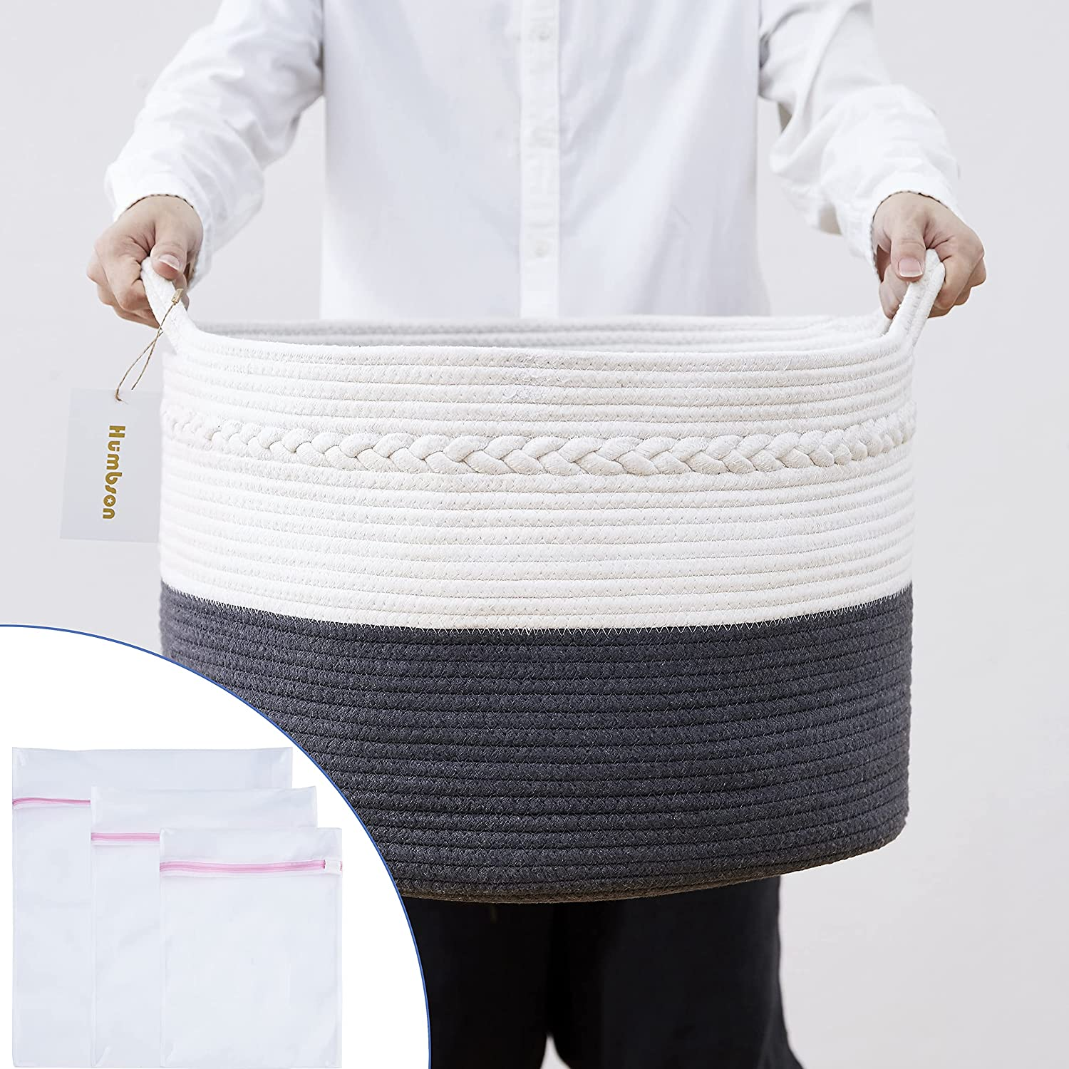 Large Cotton Rope Storage Basket: Baby Laundry Woven Basket - 21.7 x 21.7 x 13.8 Inch - Nursery Toy Basket - Bedroom Living Room Floor Blanket Basket - Round Handles Basket - 87L - Added with 3 Laundry Bags