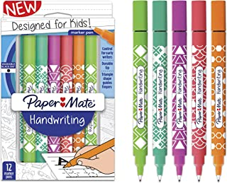 Paper Mate Handwriting Triangular Pens, Washable Black Ink, Fashion Wraps, 12 Count (2017536)