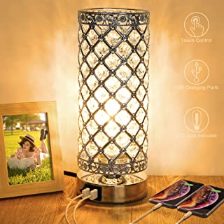 Crystal Touch Control Table Lamp with Dual Fast USB Charging Ports, 3-Way Dimmable..