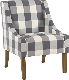 HomePop Miller Modern Swoop Arm Accent Chair,  Blue Plaid