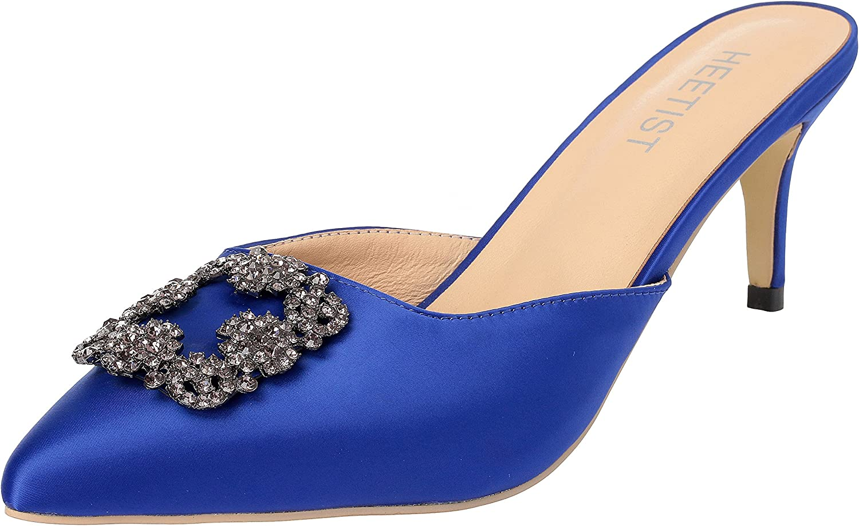HEETIST Women's Hosphere Satin Slide Sandals with Pointed Toe Kitten Heels Jeweled Slingback Mules Slip On
