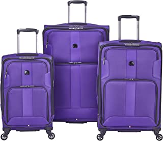 DELSEY Paris Sky Max 2.0 Softside Expandable Luggage with Spinner Wheels, Purple, 3-Piece Set (21/25/29)