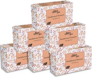 Mirah Belle - Organic Sandalwood Turmeric Healing Soap Bar (Pack of 6-125 gm) - For Acne, Breakouts, Pimples & Blemishes. ...