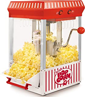 Nostalgia KPM200 2.5-Ounce Tabletop Kettle Popcorn Maker, Makes 10 Cups With Kernel & Oil Measuring Spoons and Scoop, Perfect for Birthday Parties, Movie Nights, Main, White/RED