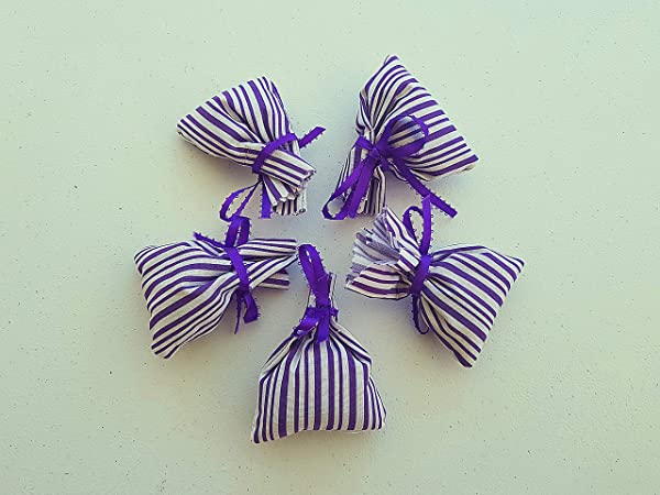 5 Small Sachets Of Lavender Fabric Lavender Blue Line