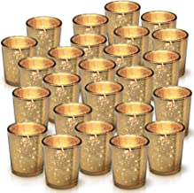 Granrosi Gold Mercury Votive Candle Holder Set of 25 - Mercury Glass Tealight Candle Holder with A Speckled Gold Finish - Adds The Perfect Ambience to Your Wedding Decorations Or Home Decor