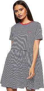 فستان مخطط باكمام قصيرة ومزين بالعلامة التجارية للنساء من تومي جينز