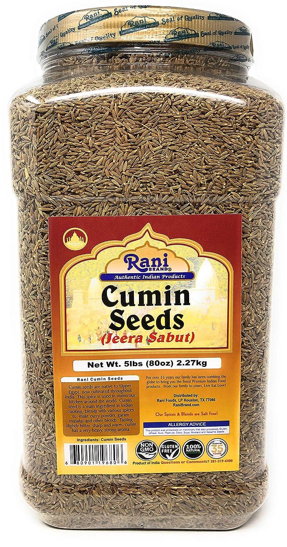 Rani Cumin Seeds Whole (Jeera) Spice 5lbs (80oz) 2.27kg Bulk, PET Jar ~ All Natural   Gluten Friendly   NON-GMO   Vegan   Indian Origin